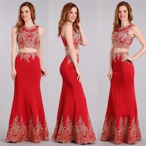 Sexy 2 pc Red Gold Lace Bodycon Dress 1612
